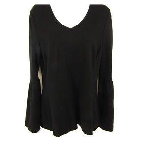 CAbi black bell sleeve blouse.